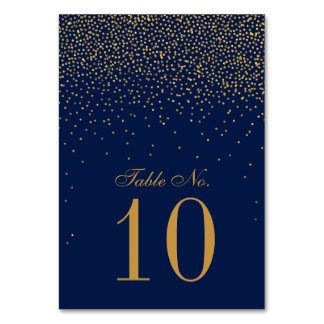 Navy Blue & Glam Gold Confetti Wedding Table Number
