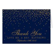 Navy Blue & Glam Gold Confetti Wedding Thank You