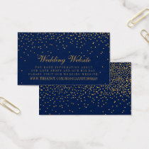 Navy Blue & Glam Gold Confetti Wedding Website Business Card
