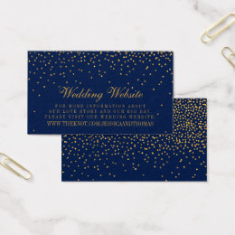 Navy blue and gold business cards templates zazzle navy blue glam gold confetti wedding website business card colourmoves