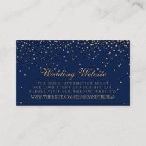 Navy Blue & Glam Gold Confetti Wedding Website Enclosure Card