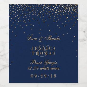 invitation_republic Navy Blue & Glam Gold Confetti Wedding Wine Bottle Wine Label