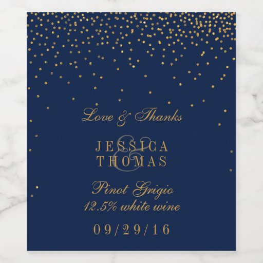 Navy Blue & Glam Gold Confetti Wedding Wine Bottle Wine Label