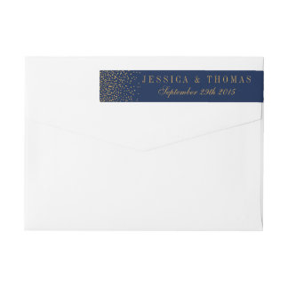 Navy Blue & Glam Gold Confetti Wedding Wrap Around Label