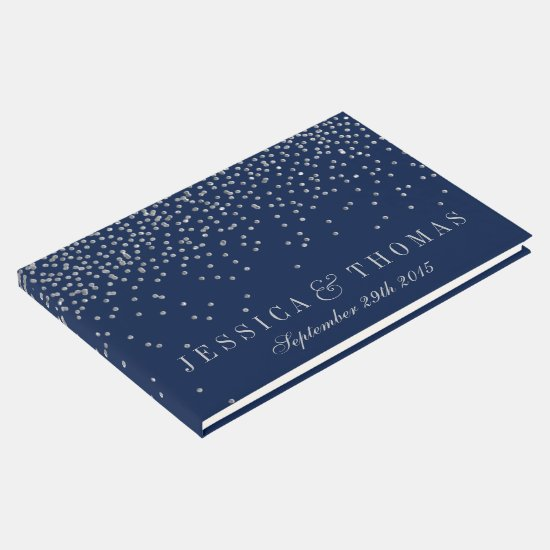 Navy Blue & Glam Silver Confetti Wedding Guest Book