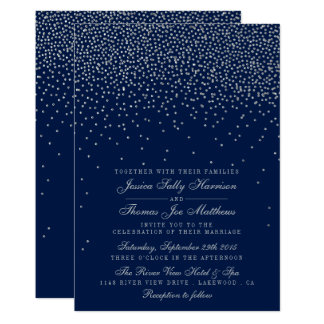 Navy Blue & Glam Silver Confetti Wedding Invitation