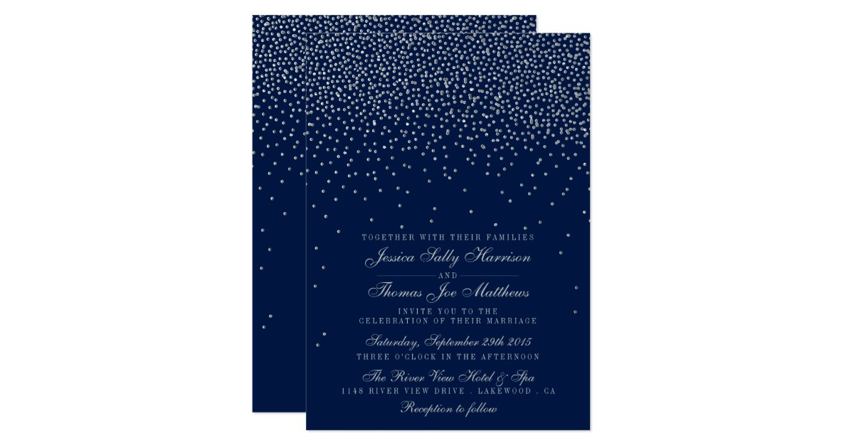 Navy Blue & Glam Silver Confetti Wedding Invitation | Zazzle.com