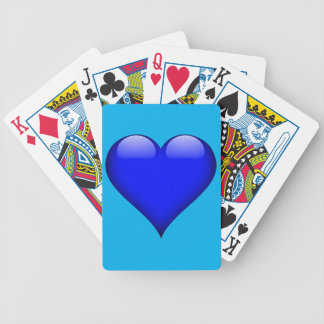 Navy Blue Glass Heart Customizable Bicycle Playing Cards