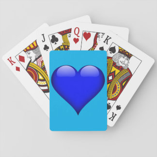 Navy Blue Glass Heart Customizable Playing Cards