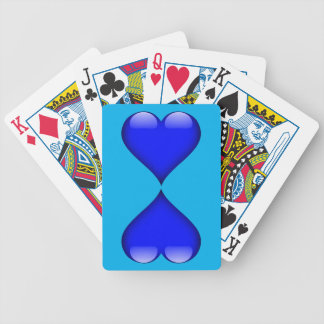 Navy Blue Glass Heart Duo Customizable Bicycle Playing Cards