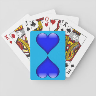 Navy Blue Glass Heart Duo Customizable Playing Cards