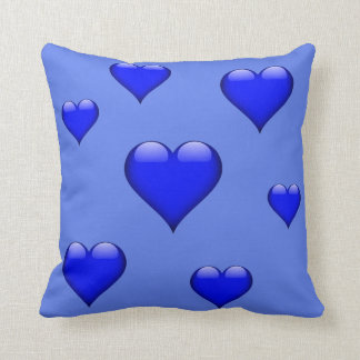 Navy Blue Glass Heart Tiled Customizable Throw Pillow
