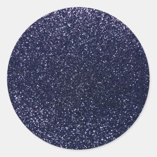 Navy blue glitter classic round sticker