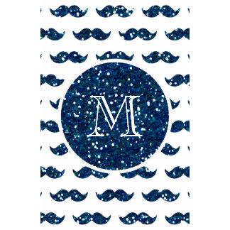 Navy Blue Glitter Mustache Pattern Your Monogram Calendar