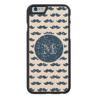 Navy Blue Glitter Mustache Pattern Your Monogram Carved Maple iPhone 6 Slim Case