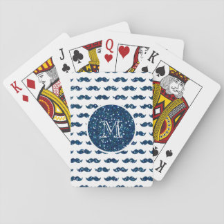 Navy Blue Glitter Mustache Pattern Your Monogram Deck Of Cards