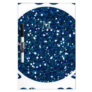 Navy Blue Glitter Mustache Pattern Your Monogram Dry Erase Boards