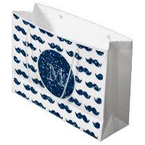 Navy Blue Glitter Mustache Pattern Your Monogram Large Gift Bag