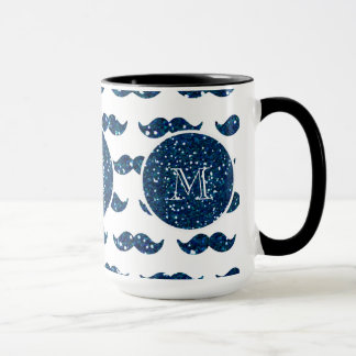 Navy Blue Glitter Mustache Pattern Your Monogram Mug