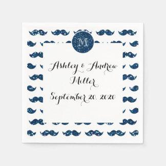 Navy Blue Glitter Mustache Pattern Your Monogram Napkin
