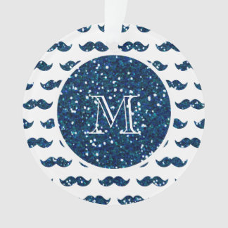 Navy Blue Glitter Mustache Pattern Your Monogram Ornament