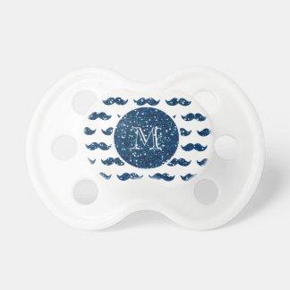 Navy Blue Glitter Mustache Pattern Your Monogram Pacifier
