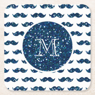 Navy Blue Glitter Mustache Pattern Your Monogram Square Paper Coaster