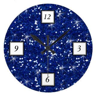 Navy Blue Glitter Printed Clock