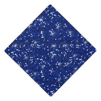 Navy Blue Glitter Printed Graduation Cap Topper