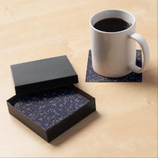 Navy Blue Glitter Printed Coasters