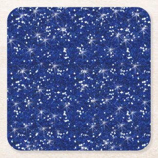 Navy Blue Glitter Printed Square Paper Coaster