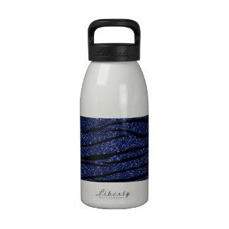 Navy blue glitter zebra stripes reusable water bottle
