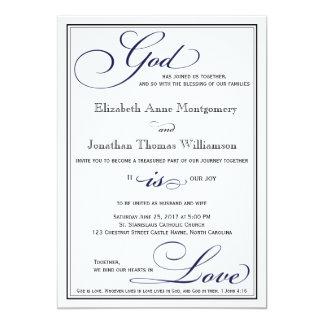 Navy Blue God is Love Christian Wedding Invitation