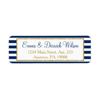 Navy Blue Gold Address Labels Elegant Shower