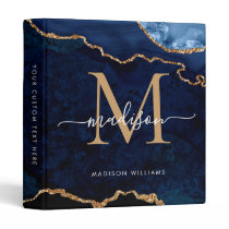 Navy Blue Gold Agate Geode Monogram Script Name 3 Ring Binder