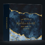 """Navy Blue Gold Agate Marble Wedding Photo Album 3 Ring Binder<br><div class=""""desc"""">Navy Blue &amp; Gold Foil Watercolor Marble Agate Gilded Geode Design,  with Modern and Script fonts. Trendy and Chic Wedding or any event Photo Album! ~ Check my shop to see the entire wedding suite for this design!</div>"""