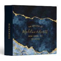Navy Blue Gold Agate Marble Wedding Photo Album 3 Ring Binder