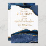 Navy Blue & Gold Agate Virtual Birthday Invitation