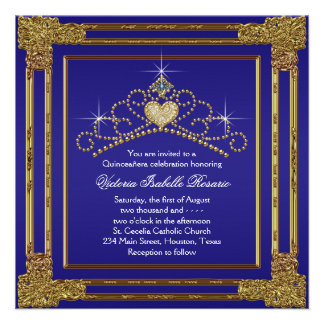 Navy Blue Gold and Tiara Sweet 15 Quinceanera Custom Invitation