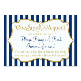 Navy Blue Gold Baby Shower Book Card Bring A Book