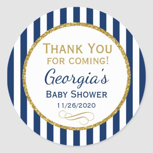 Navy Blue Gold Baby Shower Thank You Favor Tag