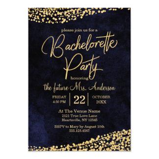 Navy Blue & Gold Bachelorette Party Invitation