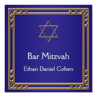 Navy Blue Gold Bar Mitzvah Card