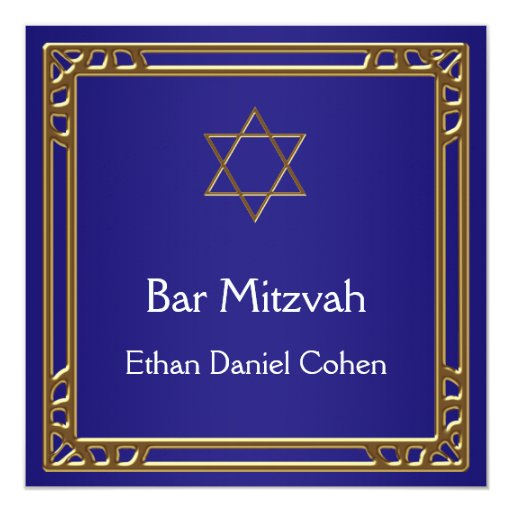 Navy Blue Gold Bar Mitzvah 5.25x5.25 Square Paper Invitation Card