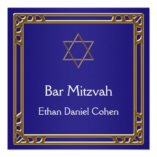 Navy Blue Gold Bar Mitzvah Personalized Invite