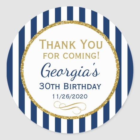 Navy Blue Gold Birthday Thank You Coming Favor Tag