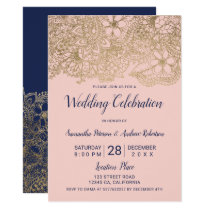 Navy blue gold blush floral typography wedding invitation
