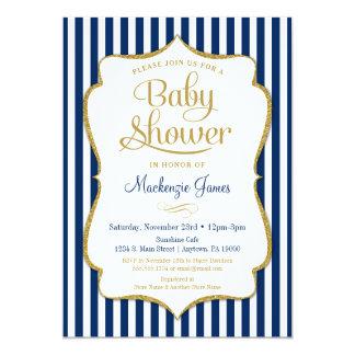 Navy Blue Gold Boy Baby Shower Invitation Stripes