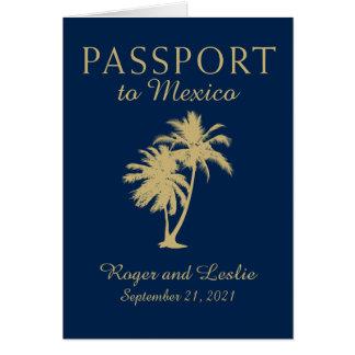 Navy Blue Gold Cancun Mexico Wedding Passport Card