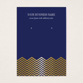 Navy Blue Gold Chevron Custom Earring Card